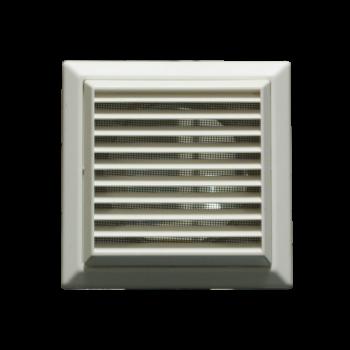 Větrací mřížka se síťkou a přírubou bílá VP 150/200x200 HMb